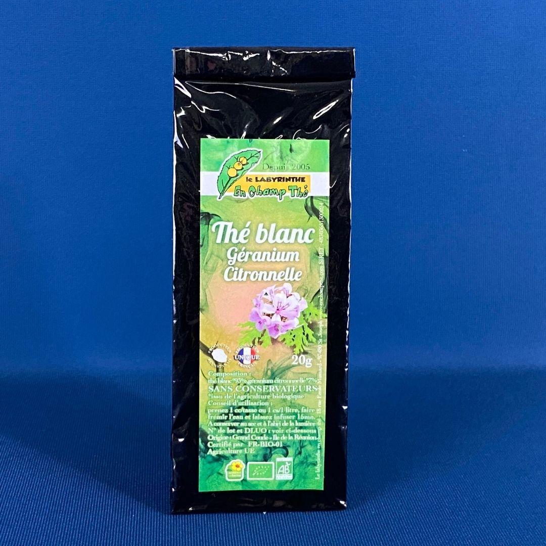 Produits de la Réunion - Thé blanc Géranium Citronnelle bio